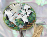 3D Lifelike A Flock of Crane Birds Pine Tree Embroidery Stitchwork Chinese Decorative Silk Hand Fan Gifts Collectible Handiwork Art