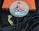 Handmade 3D Liefelike Ancient Chinese Fairy Tale Goddess Embroidery Silk Fan