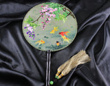 3D Lifelike A Flock of Koi Fishes In the Pond Water Plants Embroidery Stitchwork Chinese Decorative Silk Hand Fan Gifts Collectible Handiwork Art