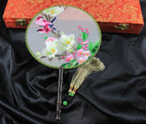 3D Lifelike Two Rose Red Birds Stand In the Branch Gorgeous Flower Embroidery Stitchwork Chinese Decorative Silk Hand Fan Gifts Collectible Handiwork Art