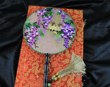 3D Lifelike Two Cute Yellowbirds In the Branch Purple Flower Tree  Embroidery Stitchwork Chinese Decorative Silk Hand Fan Gifts Collectible Handiwork Art