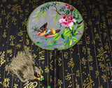 3D Lifelike Mandarine Duck In the Pond Embroidery Stitchwork Chinese Decorative Silk Hand Fan Gifts Collectible Handiwork Art