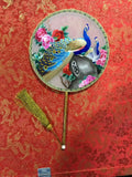 3D Lifelike Handiwork Handmade Ultimately Skillful Embroidery Flower Ancient Beauty Playing Musical Instrument Peacock Watertown Moon Goddess Collectible Needlework Rare Double Side Silk Hand