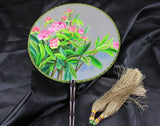 3D Lifelike A Bunch of Flower Leaves Plants Embroidery Stitchwork Chinese Decorative Silk Hand Fan Gifts Collectible Handiwork Art