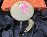 3D Lifelike A Piece of Pink Flower Embroidery Stitchwork Chinese Decorative Silk Hand Fan Gifts Collectible Handiwork Art