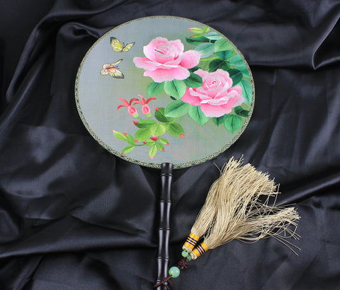 3D Lifelike Butterflies Around Blooming Peony Flower Embroidery Stitchwork Chinese Decorative Silk Hand Fan Gifts Collectible Handiwork Art