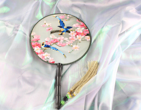 Handmade 3D Lifelike Pink Sakura Flower Birds Embroidery Stitchwork Chinese Decorative Silk Hand Fan Gifts Collectible