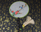 3D Lifelike Lucky Birds Stand In the Flower Branch Embroidery Stitchwork Chinese Decorative Silk Hand Fan Gifts Collectible Handiwork Art