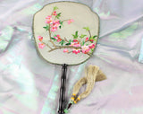 3D Lifelike A Branch of Peach Blossom Flower Plants Embroidery Stitchwork Irregular Chinese Decorative Silk Hand Fan Gifts Collectible Handiwork Art