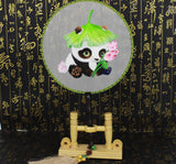 3D Lifelike Cute Panda with Lotus Leave Hat Hold the Flower Embroidery Stitchwork Chinese Decorative Silk Hand Fan Gifts Collectible Handiwork Art