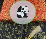 3D Lifelike Cute Panda Embroidery Stitchwork Chinese Decorative Silk Hand Fan Gifts Collectible Handiwork Art