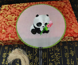 Handmade 3D Lifelike Cute Panda Hold the lotus flower Embroidery Stitchwork Chinese Decorative Silk Hand Fan Gifts Collectible