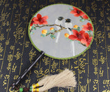 3D Lifelike White Love Birds In the Branch Around The Red Flower Embroidery Stitchwork Chinese Decorative Silk Hand Fan Gifts Collectible Handiwork Art