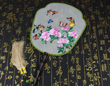 Handmade 3D Lifelike Butterflies Around the Flower Embroidery Stitchwork Irregular Chinese Decorative Silk Hand Fan Gifts Collectible
