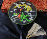 Handmade 3D Lifelike Dragon Embroidery Stitchwork Chinese Decorative Silk Hand Fan Gifts Collectible