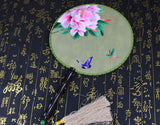 Handmade 3D Lifelike Pink Peony Flower Butterflies Embroidery Stitchwork Chinese Decorative Silk Hand Fan Gifts Collectible