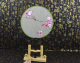 Handmade 3D Lifelike A Branch of Pink Flower Embroidery Stitchwork Chinese Decorative Silk Hand Fan Gifts Collectible