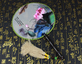 Handmade 3D Lifelike Water Painting Lotus Art Embroidery Stitchwork Chinese Decorative Silk Hand Fan Gifts Handiwork