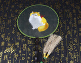 Handmade 3D Lifelike A Yellow Cute Cat Embroidery Handmade Stitchwork Chinese Decorative Silk Hand Fan Gifts Handiwork