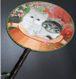 3D Lifelike Cute Cats Embroidery Stitchwork Chinese Decorative Silk Hand Fan Gifts Collectible Handiwork Art