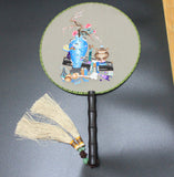 3D Lifelike Su Embroidery Handiwork Stitchwork Flower Vase Holder Box Needlework Rare Double Side Silk Hand Fan Collectibles Birthday Christmas Gifts