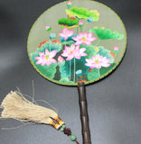 3D Lifelike Su Embroidery Handiwork Stitchwork Lotus Flower In the Pond Plants Needlework Rare Double Side Silk Hand Fan Collectibles Birthday Christmas Gifts