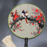 3D Lifelike Extroadinary Exquisite Handiwork Birds Stand In the Branch Of The Flower Tree Su Embroidery Handmade Stitchwork Silk Hand Fan Birthday/Christmas Gifts