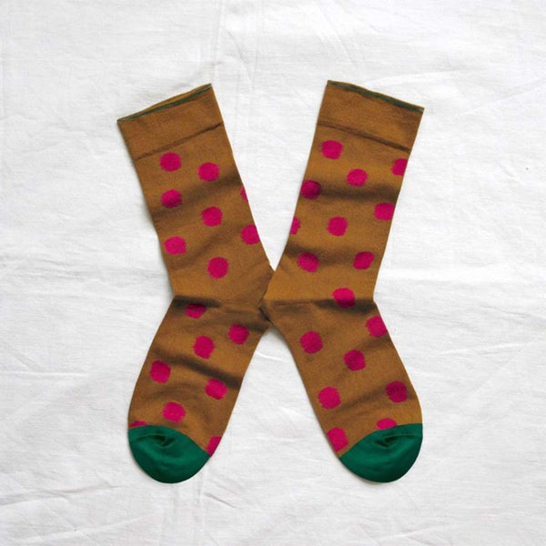 Bonne Maison Socks Cinnamon with Raspberry pink Polka Dots size 39/41