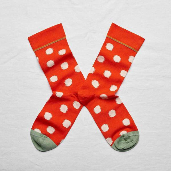 Bonne Maison Socks Bright Red with Polka Dots size 39/41
