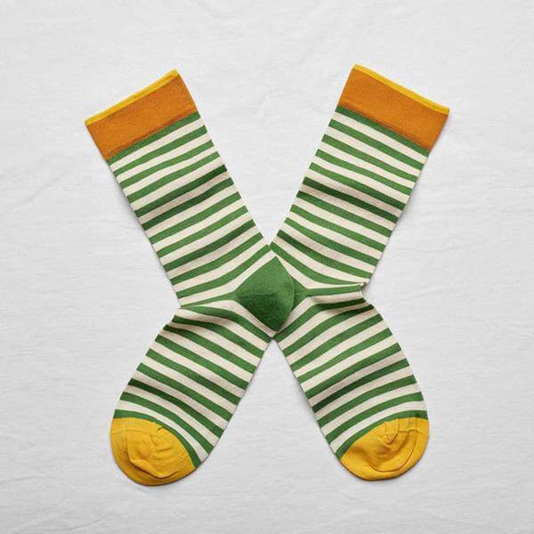 Bonne Maison Socks with stripes in avocado and white size 39/41