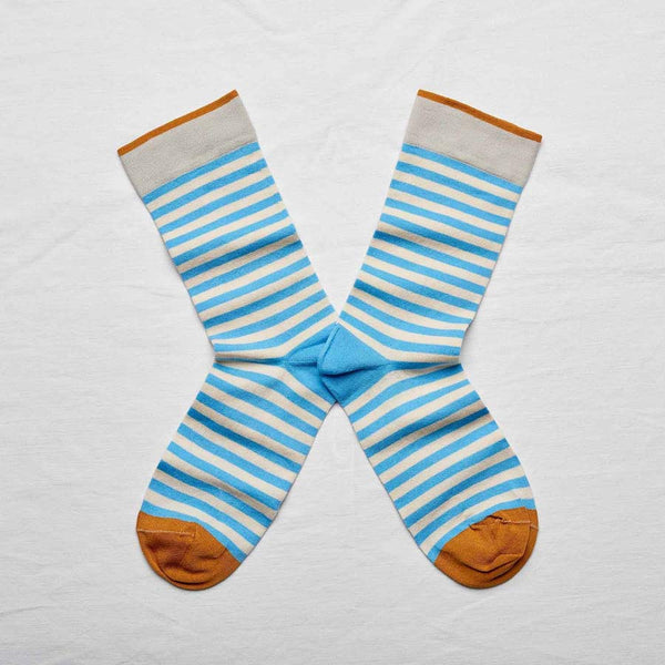 Bonne Maison Socks with stripes in azure and white size 39/41