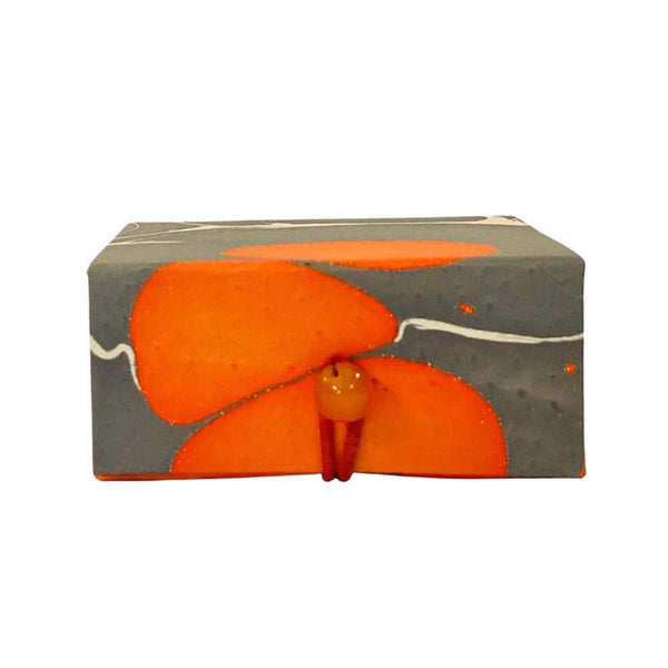 Small box in marble paper - Bright Orange, grey & white