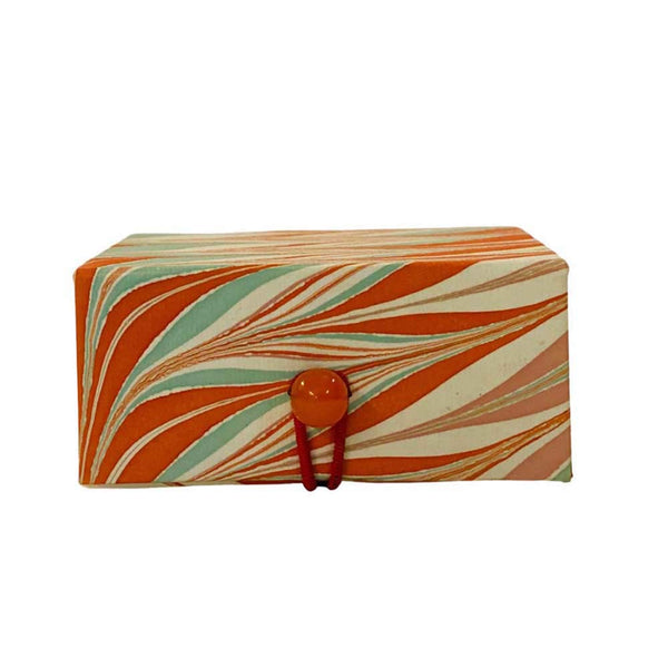 Small box in marble paper - Orange, Douce abricot, white & turquoise
