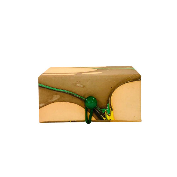 Small box in marble paper - Nude, Brown-grey, Green & Yellow