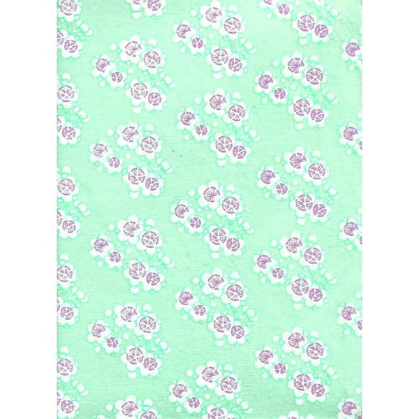 Green happiness paper-Purple & White Cherry blossoms , with Aqua blue