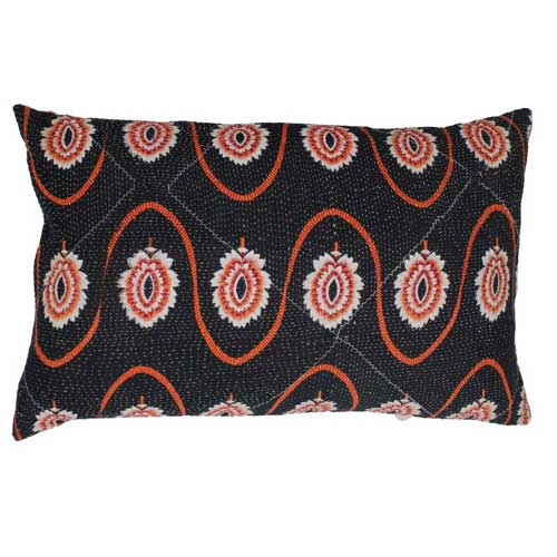 Unika Gudri cushion Black & Orange with flowers 50x30