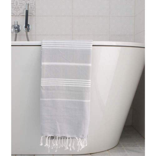 Hammam Towel Light Grey with white Stripes 170x100