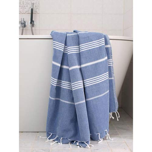 Hammam Towel Dusty Blue with White Stripes 160x220