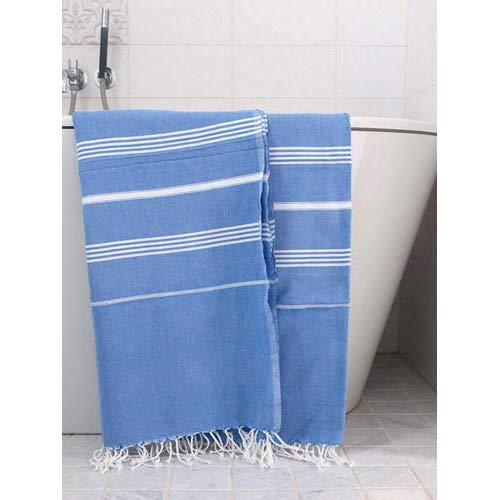 Hammam Towel Blue M. the White Stripes 160x220 cm