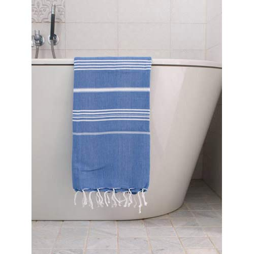 Hammam Towel Blue M. the white Stripes 170x100