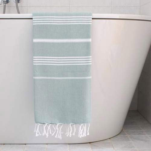 Hammam Towel Seagreen with white stripes 170x100