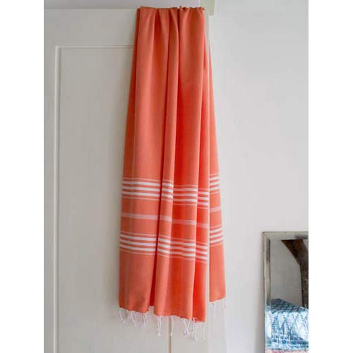 Hammam Towel Mandarine with white stripes 160x220