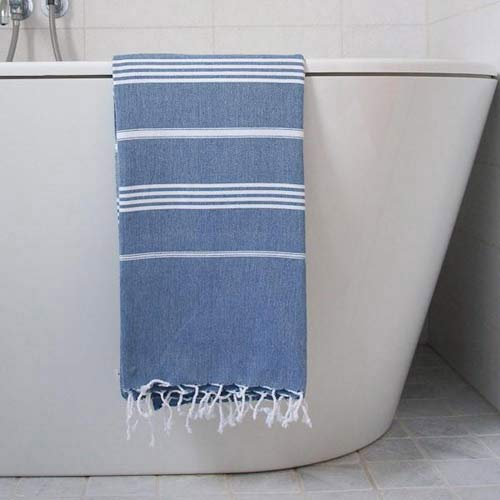 Hammam Towel Dark Blue with White Stripes 170x100