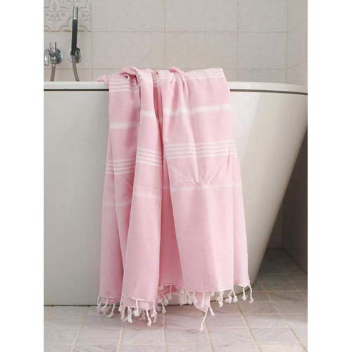 Hammam Towel Rose with white Stripes 160x220