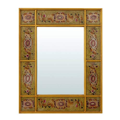 Mint Green Mirror with Golden Decoration 42x52 cm