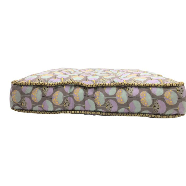 Cushion in Dark grey with Soft Lavender & Turquoise Pattern