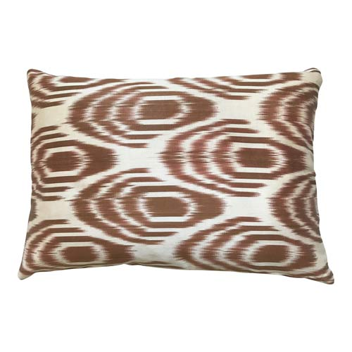 Ikat cushion Chocolate brown and Ecru 50x30