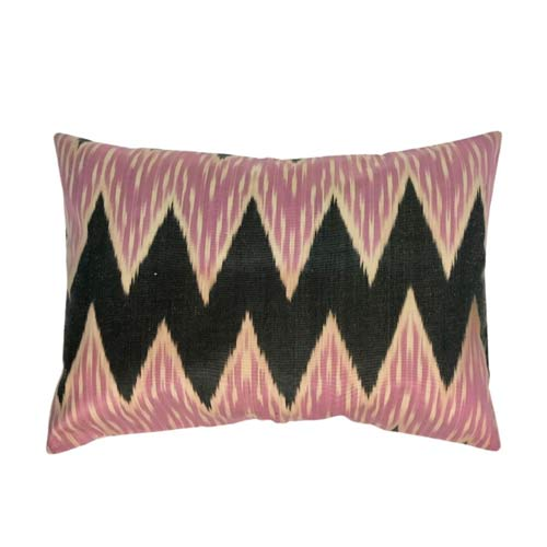 Ikat Pude Light Purple pink, Sort & Ecru 50x30