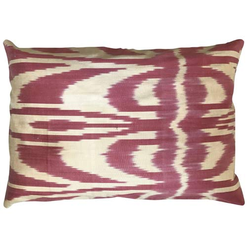 Ikat Cushion Old Rose & Ecru 50x30