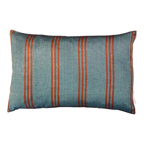 Istanbul Cushion Dustyblue & Orange stripes 50x30